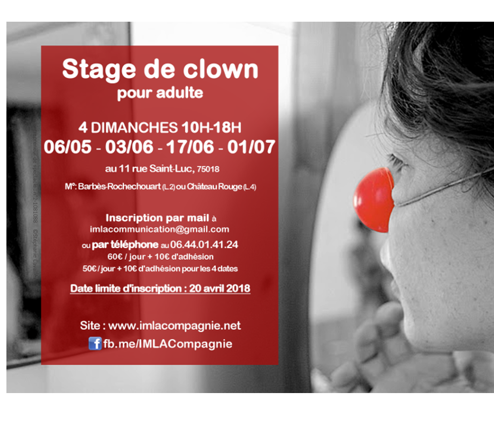 STAGE DE CLOWN DU 6 MAI AU 1 JUILLET